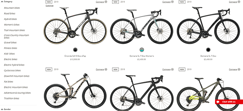 Trek has pretty decent selection of bikes available