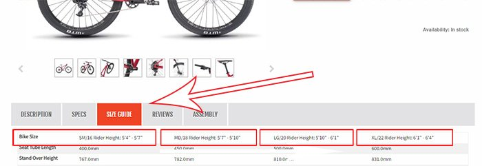 Bike Size information