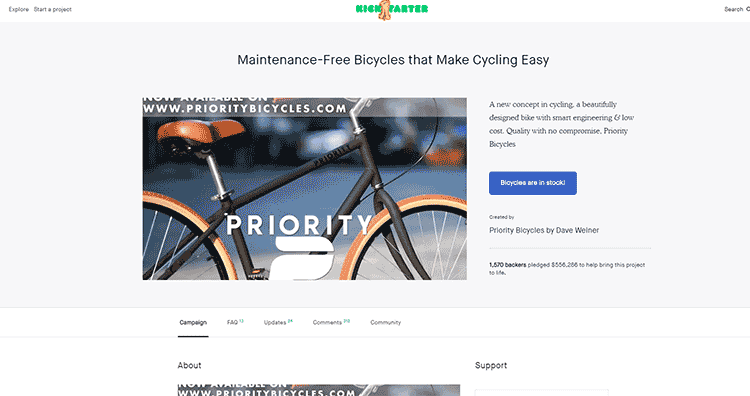 Priority Bicycles Kickstarter project