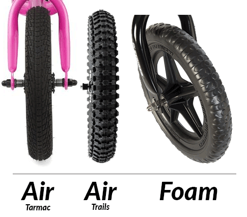 Different bike tires of balance bikes