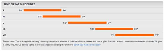 Orange bike sizes