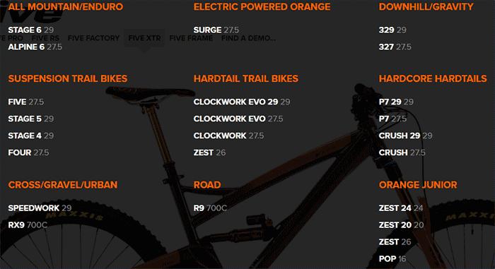 Orange Mountain bikes selection