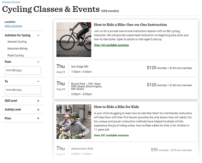 Cycling classes and events on REI