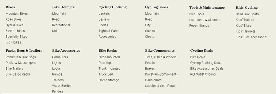 REI gear categories