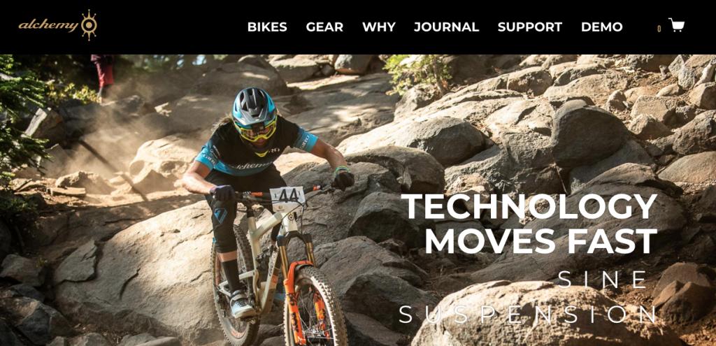 alchemy bicycles homepage screenshot