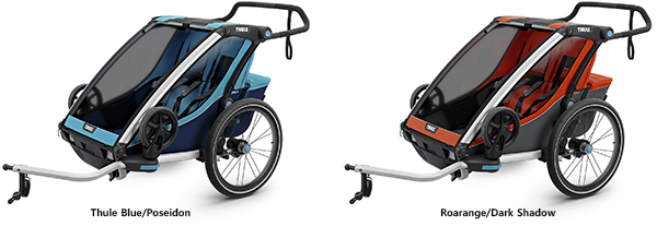 thule chariot cross trailers blue and  red