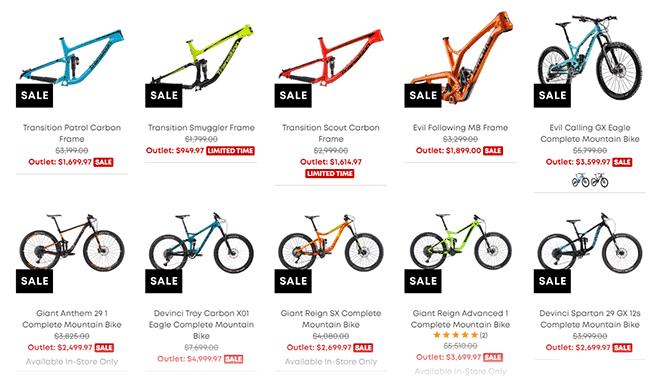 Selection Of Mountain Bikes On EVO
