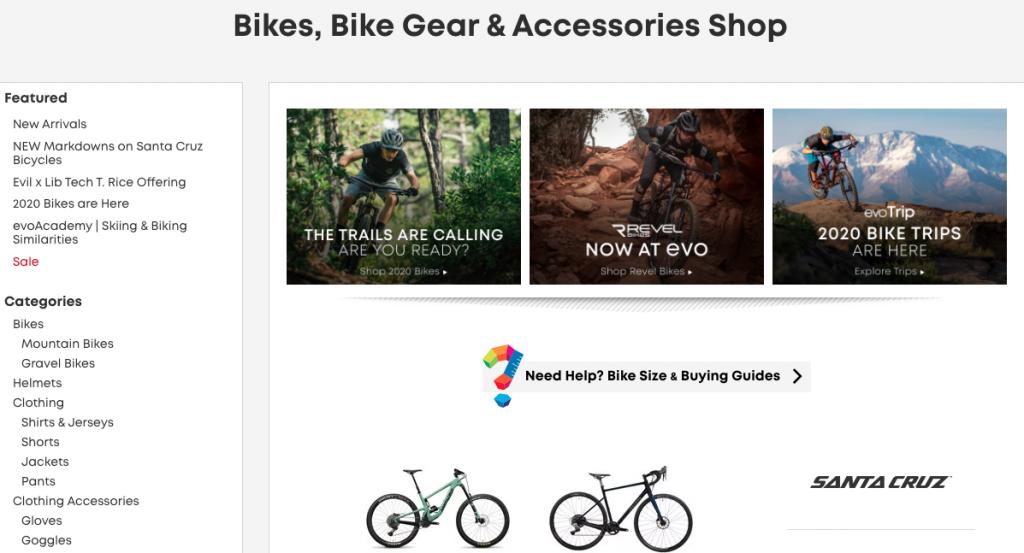 evo Website Bike Section