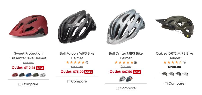 evo Website Helmets Section