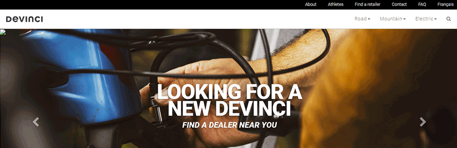 devinci website front page