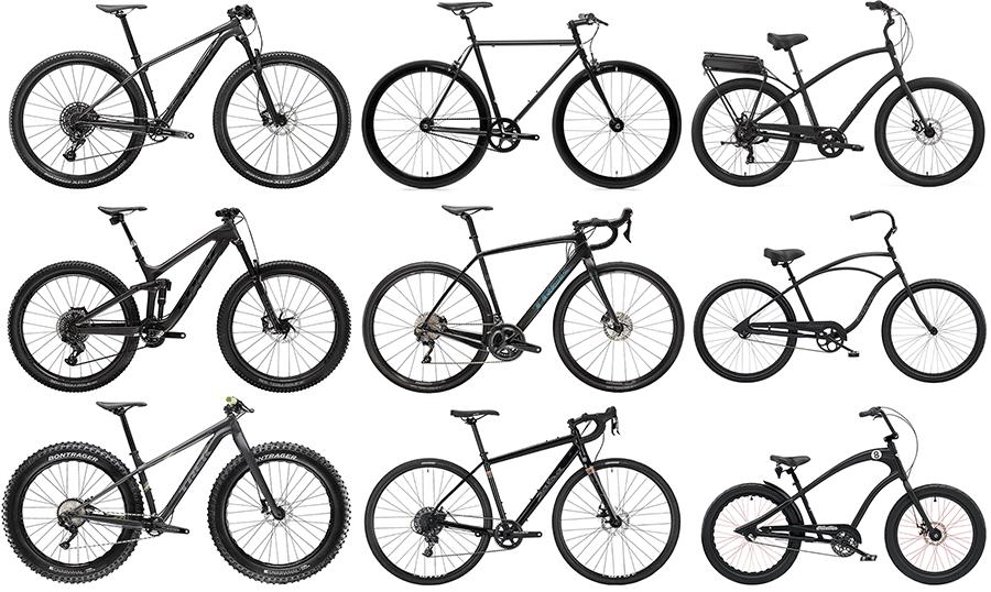 9 black bicycles