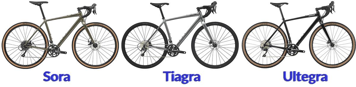 cannondale topstone sora, tiagra, ultegra gravel bikes