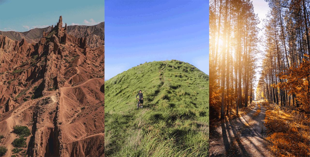trail mountain biking terrains - desert, hill, forest