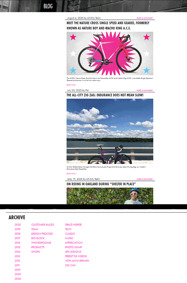 all-city bikes blog page