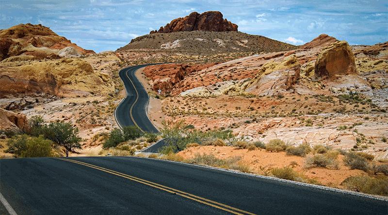 mountain road through a desert