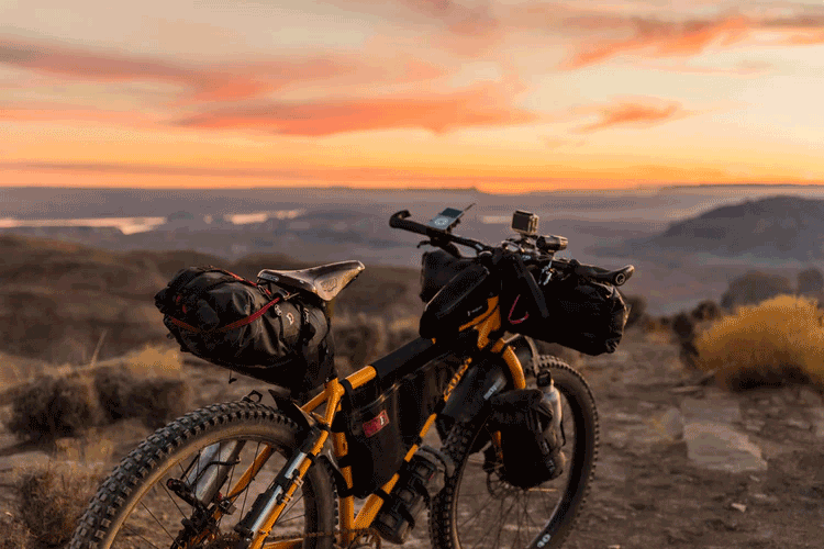 saddle bag on a touring bicycle by the sunset