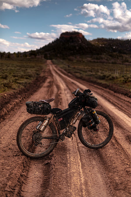 touring bike on dirt roads