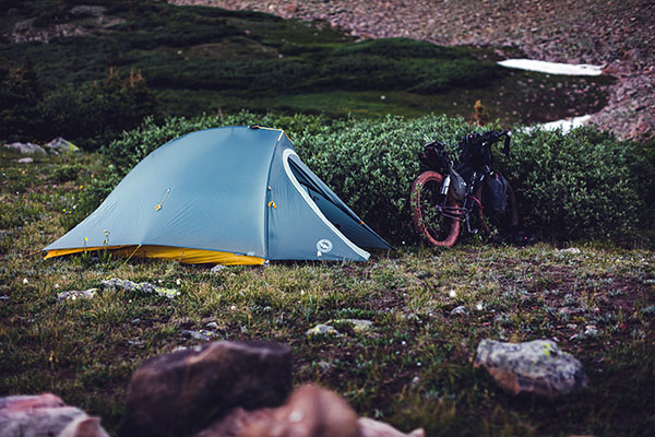 tent and bicycle camping