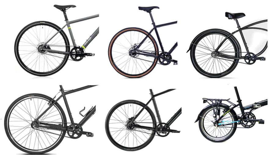 image collage of different belt drive bikes