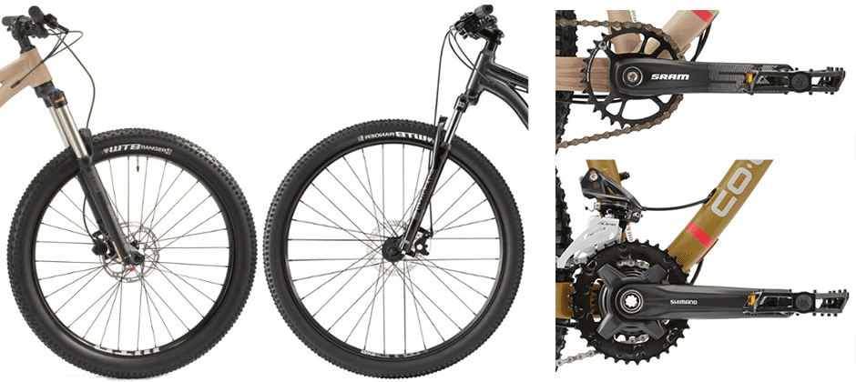 mountain bike components - wheels and chainrings