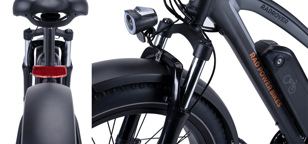 Rear and front light of RadRover 5 electric bike