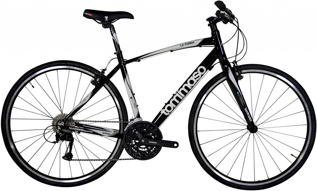 Black and white value fitness bike with 3x9 Shimano Acera groupset.