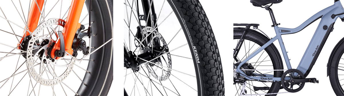 disc brakes, wider tires and strong frame