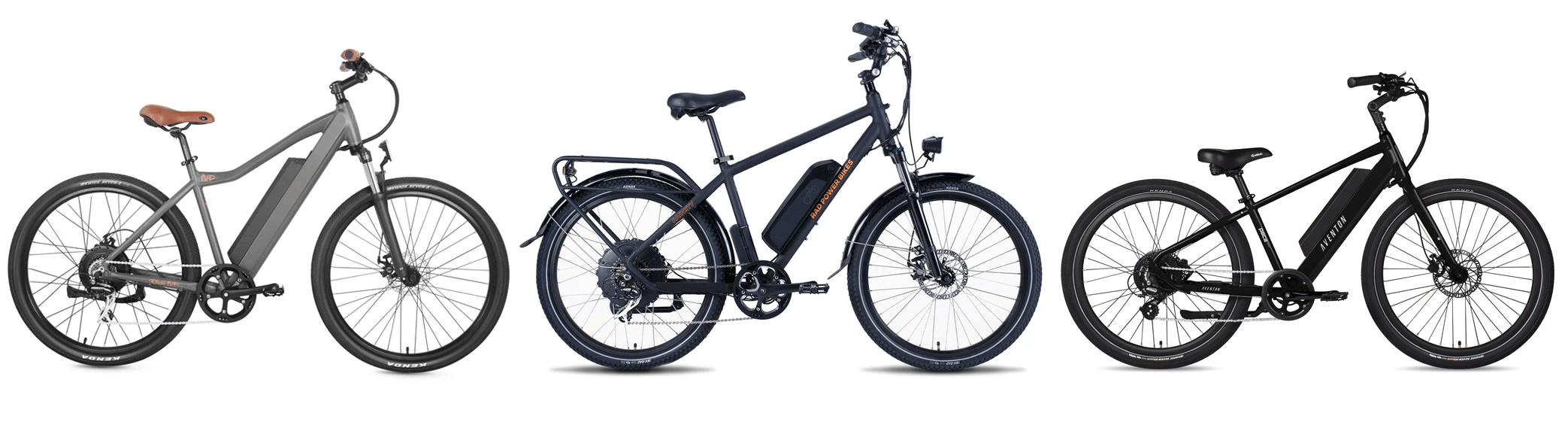 Electric bike comparison between Rode1UP 500 Series, Rad Power Bikes RadCity 4 and Aventon Pace 500