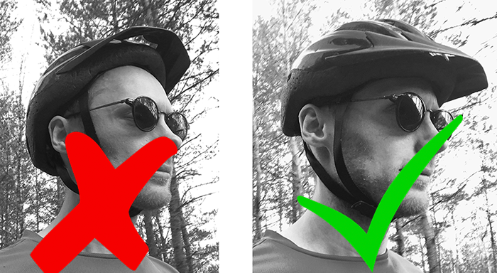 wrong and correct helmet fit