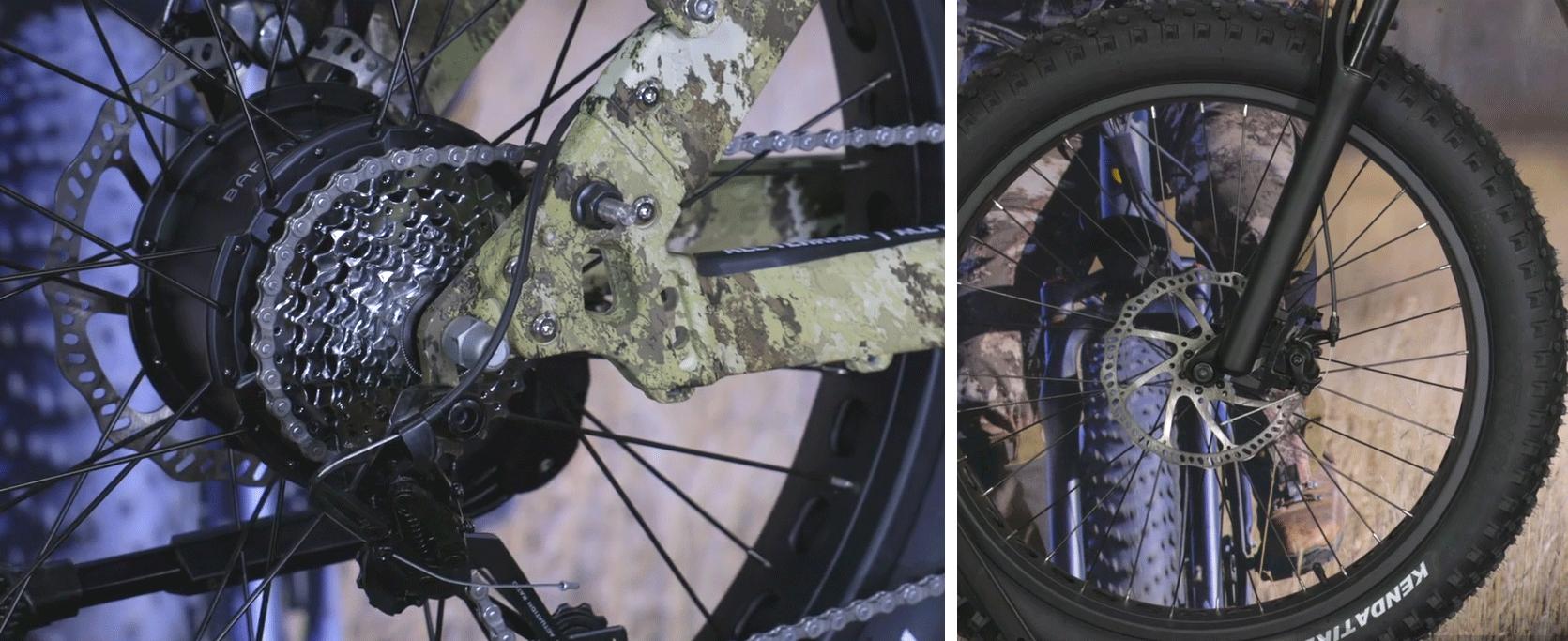 7-speed SRAM drivetrain and mechanical Tektro disc brakes on QuietKat Ranger