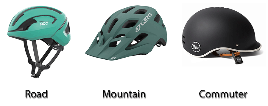 Different helmet types in a row - road, mountain and commuter helmet