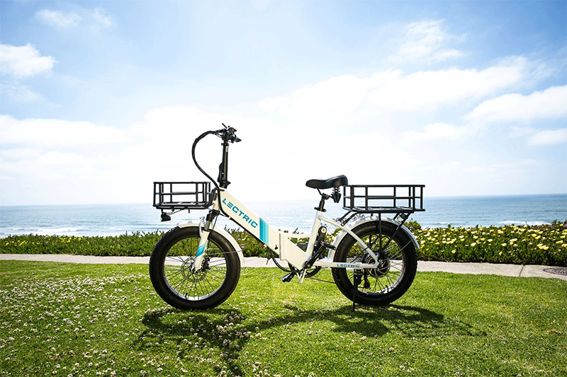 lectric xp step through ebike with some accessories like front basket and rear rack installed