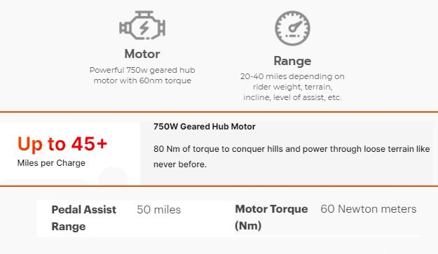 ebike range and power