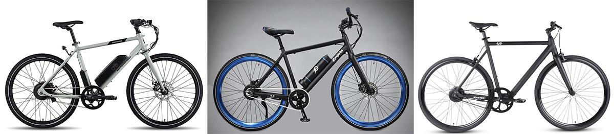 3 singlespeed e bikes on the row - RadMission, Propella, Roadster